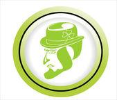 Green scale illustration leprechaun — Stock Vector
