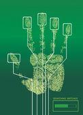 Electronic biometric fingerprint scanning — Stock Vector