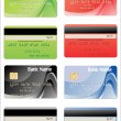 Credit cards, isolated, vector — Vettoriali Stock