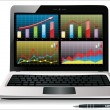 Laptop showing spreadsheet with some charts — Vector de stock #20012003