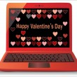 Heart Concept. Valentine's Day. Laptop on white Background. Vector. — Stock Vector
