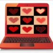 Heart Concept. Valentine's Day. Laptop on white Background. Vector. — Stock Vector #20012079