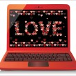Heart Concept. Valentine's Day. Laptop on white Background. Vector. — Stock Vector #20012101
