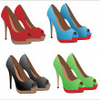 Illustration set of women's shoes with heels — Imagens vectoriais em stock