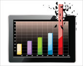 Realistic tablet pc computer profit concept, isolated on a white background. Vector Illustration — Stock Vector