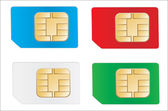 Set of color SIM cards isolated on white background — Stock Vector