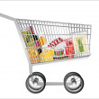 Metal shopping cart with grocery items. Isolated over white background. — Stock Vector #22305697