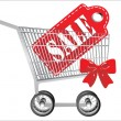 Shopping cart with sale tag. Concept of discount. Vector illustration. — Grafika wektorowa