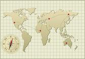 Ilustracja mapa świata — Wektor stockowy