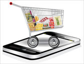 Shopping cart with grocery items with smartphone. Isolated over white background. — Stock Vector