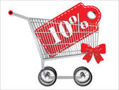Shopping cart and red ten percentage discount, isolated on white background. — Stock Vector