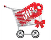 Hopping cart and red fifty percentage discount, isolated on white background. — Stock Vector
