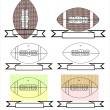 Rugby and american football symbols for mascots or sports design — Imagens vectoriais em stock