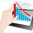 Tablet screen with 3D graph and a hands. — Imagen vectorial