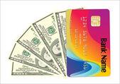 Banknotów i kredytowej karty na białym tle — Wektor stockowy