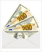 Money in envelope isolated on white background — Stock Vector