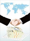 World map, money end graph over it handshake — Stock Vector