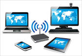Home wifi network. Internet via router on pc, phone, laptop and tablet pc. — Stock Vector