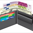 Leather wallet,inside, with bank cards and money. — Stock Vector