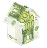 House made from euro bills isolated on white background — Vector de stock