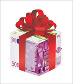 Money gift box of euro isolated on a white background — 图库矢量图片