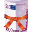 Stock Vector: 500 euro money in red ribbon with gift bow.