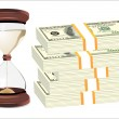 Time is money. Hourglass on hundred-dollar bills isolated on white background. — Stock Vector