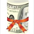 One roll from dollars in a red ribbon with a gift bow. — Stock Vector