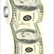 A toilet paper roll of hundred dollar bills on a dispenser, symbolizing the careless spending of money — Stock Vector