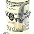 Stock Vector: Roll of 100 dollars chained and locked isolated on white