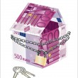 The house made of 500 Euro banknotes with lock and keys on a white background — Stock Vector