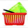 Stock Vector: Shopping basket and credit card isolated on white