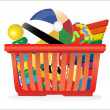 Stock Vector: Shopping basket and toys isolated on white
