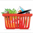 Shopping basket and groceries isolated on white — Stock Vector