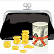 Royalty-Free Stock Vector Image: Black purse with money on a white background