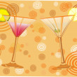 Orange background with alcohol cocktail . — Imagen vectorial