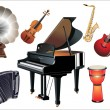 Stock Vector: Different music instruments on white background