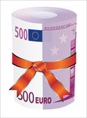 500 euro money in a red ribbon with a gift bow. — Stock Vector