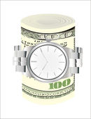 Wrist watch wrapped around a roll of 100 us dollar banknotes over white background — Stock Vector