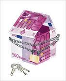 Het huis gemaakt van 500 euro-bankbiljetten met lock en toetsen op een witte achtergrond — Stockvector