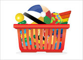 Shopping basket and toys isolated on white — Vector de stock