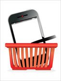 Shopping basket and smartphone on white background. — Vector de stock