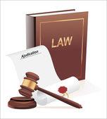 Urteil, Hammer und Recht Buchgestaltung Abbildung auf einem weißen Hintergrund — Stockvektor