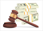 Gavel and money stack isolated on white — Stock Vector