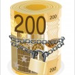 Royalty-Free Stock Vector Image: Roll of 200 euro chained and locked isolated on white