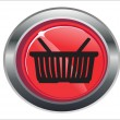 Shopping basket red circle web glossy icon — Stock vektor