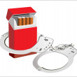 Stock Vector: Cigarette isolated on white background . Smoking manacles dependency