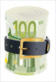 100 euro notes squeezed by leather belt on a white background — Stock Vector