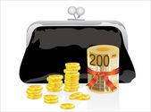 Black purse with money on a white background — Stock Vector