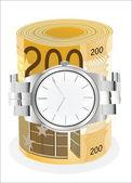 Montre de poignet enroulé autour d'un rouleau de billets de 200 euros sur fond blanc — Vecteur